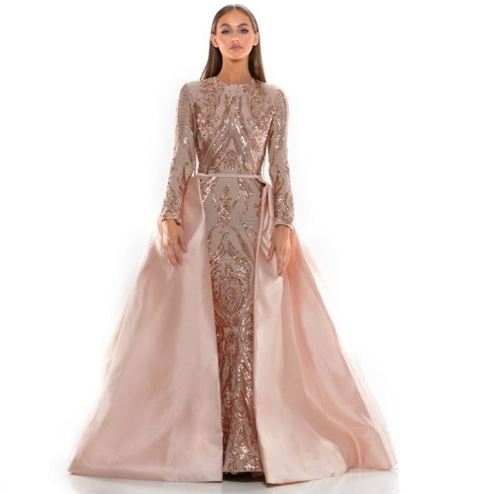 Precise Pink Mermaid Arabic Two Pieces Evening Dresses Kaftan Long Prom Dresses 2019 Couture Lace Party Dress With Detachable Skirt Weddings & Events