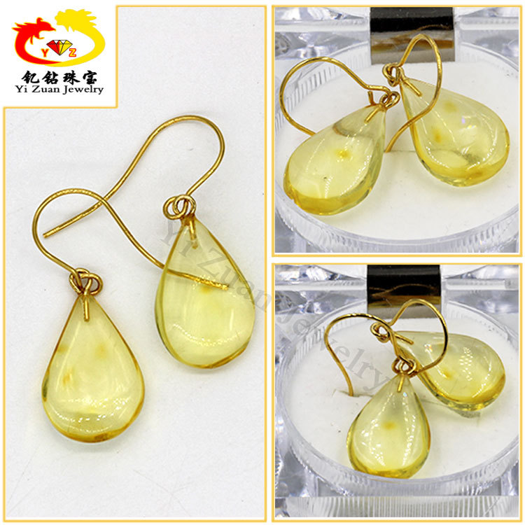 Wholesale fashion design natural amber stone earrings