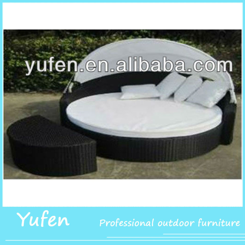 UV-resistant pe rattan round bed with canopy