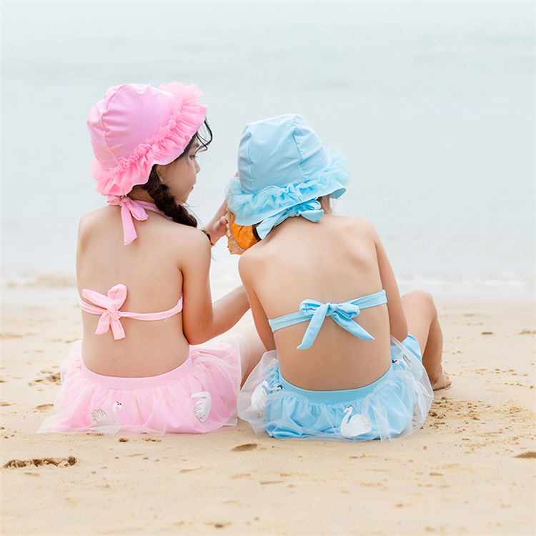 Hot Swan Embroidered Little Girl Blue Pink Swimsuit Kids Three-Piece Wholesale