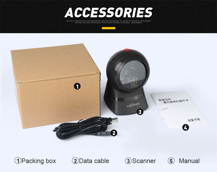 Bi-directional 1d bar code desktop hands free barcode omnidirectional laser scanner