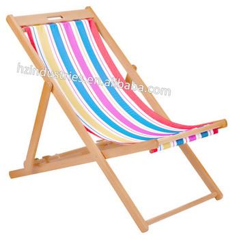 Portable Pliable En Bois Toile Chaise Longue Usine Vendre