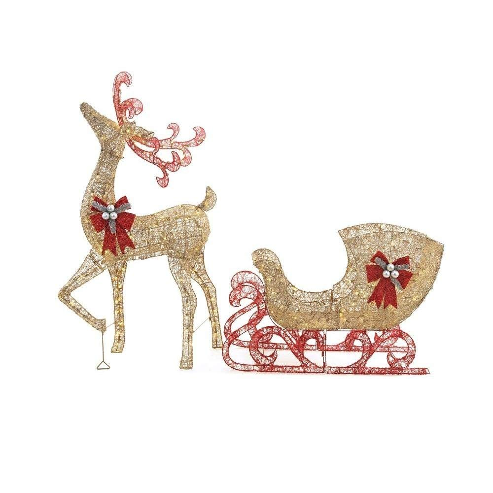 Home Accents Holiday 5 Ft. Gold Reindeer with 44 in. Sleigh Christmas Décor, Crafted with Durable Metal Frames, Ground Stakes Included for Indoor/Outdoor