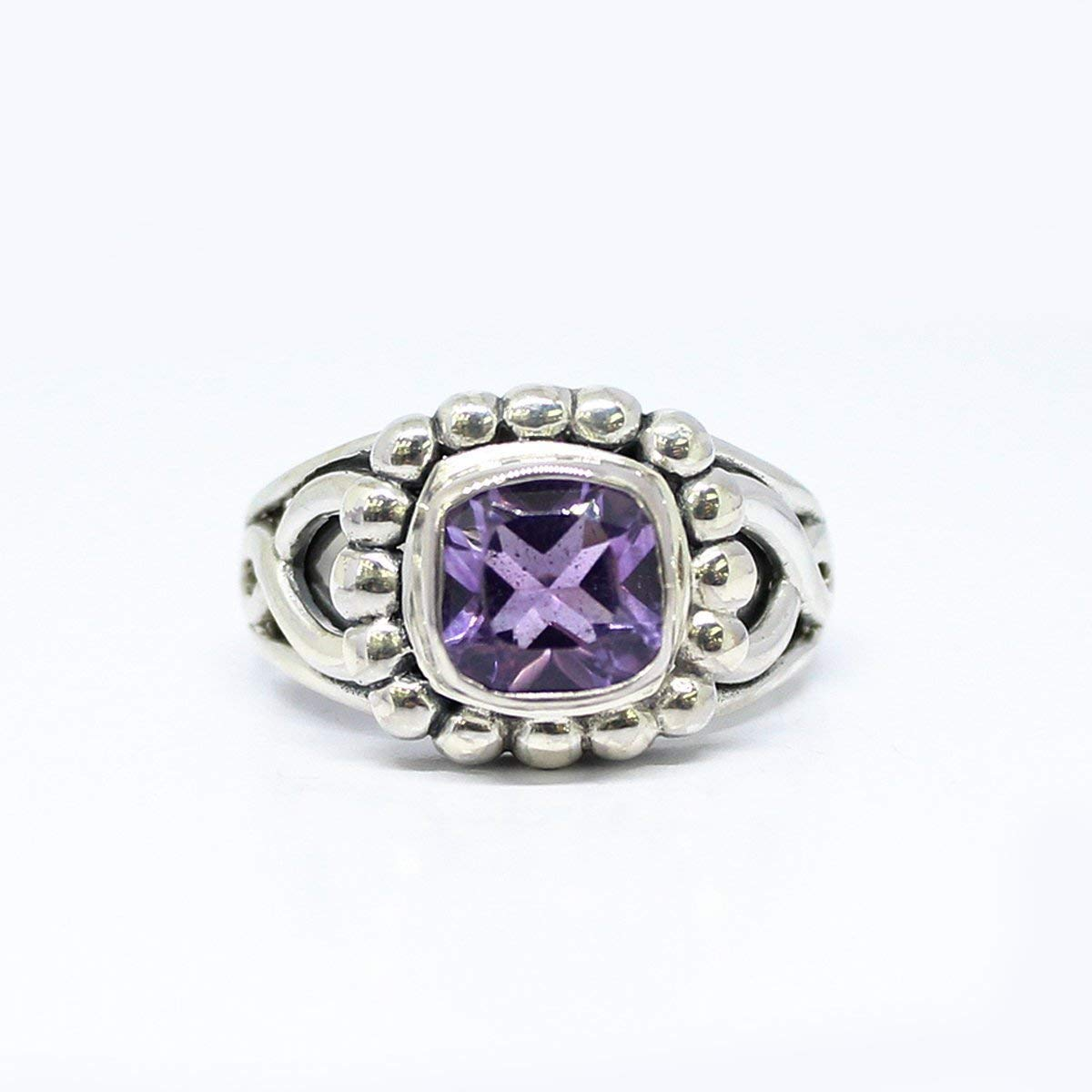 Get Quotations · Gorgeous Bali Handmade sterling silver ring with natural 8  * 8 mm amethyst stone,beautiful