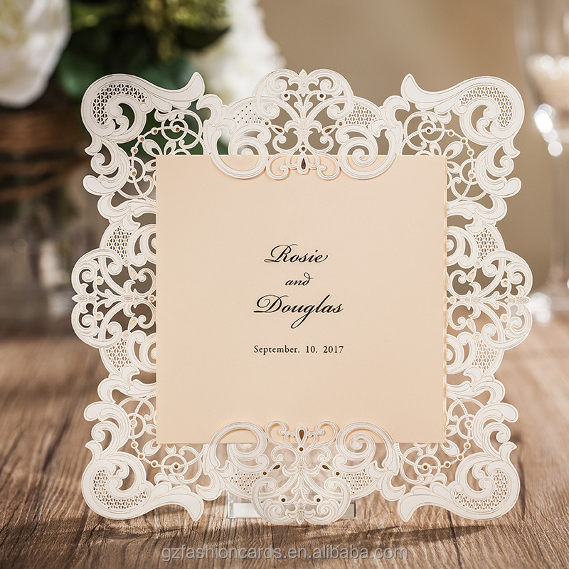 Vintage Border Embossed Laser Cut Wedding Invitations Vintage