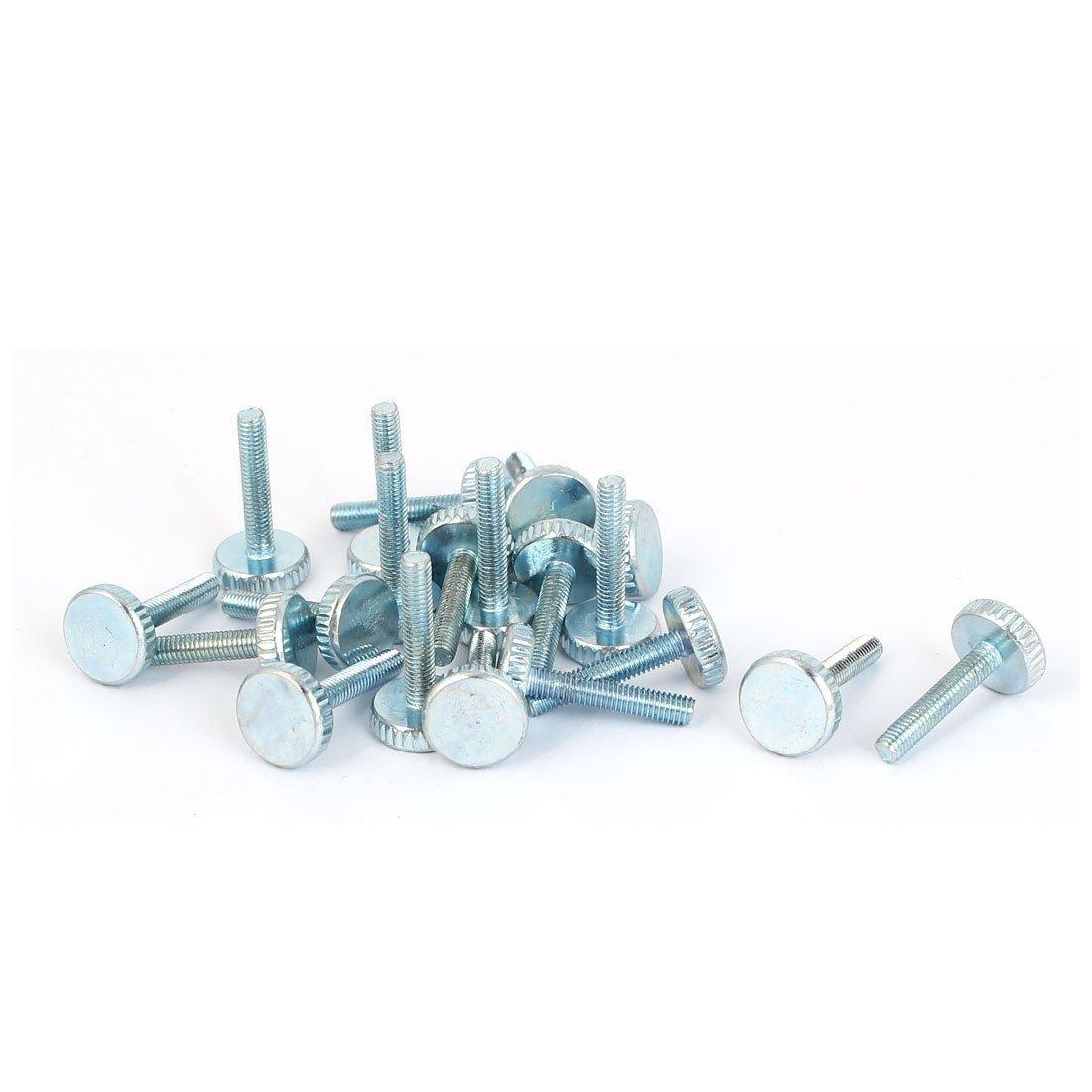 M5x12mm Thread Carbon Steel Knurled Round Head Thumb Screws Silver Blue 10pcs