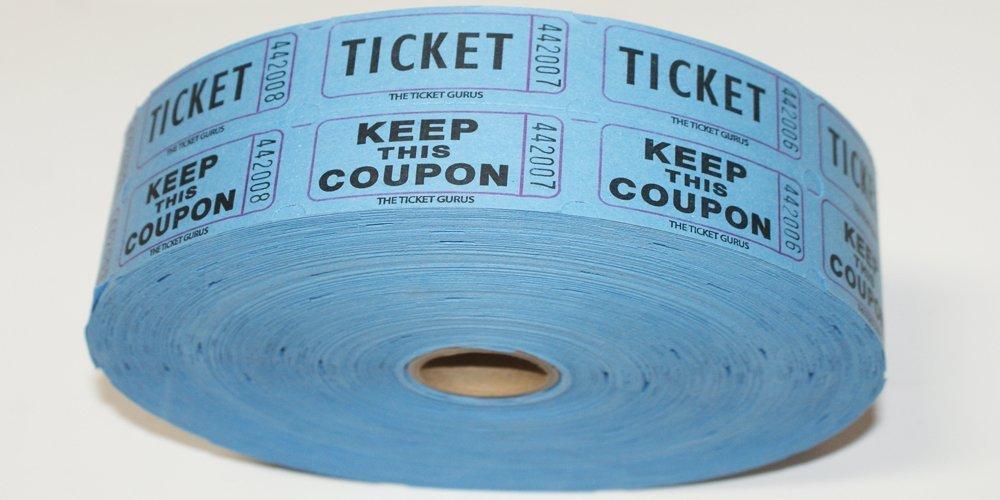 TICKET GURUS--Double Raffle Ticket Roll : roll of 2000- (Blue)
