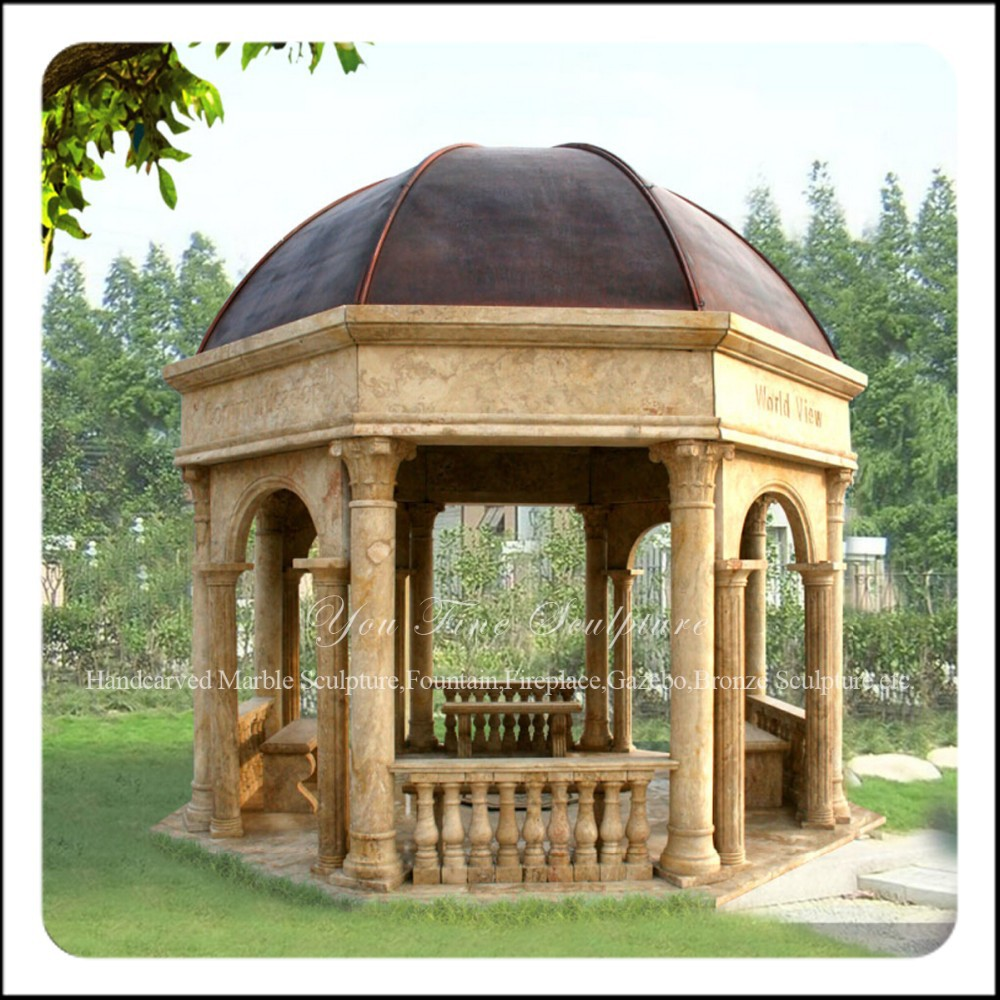 Outdoor Marble Stone Garden Gazebo With Metal Roof - Buy Stone ...
