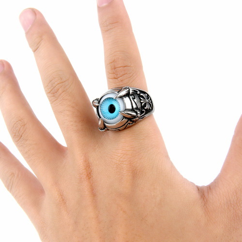 Man Punk Biker Style Solid Stainless Steel Skull Claw Vivid Blue Eye Rings
