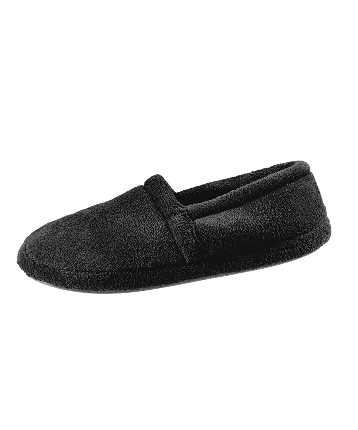 Most Comfortable Mens Slippers - Best Mens Slippers With Memory Foam Comfort Slippers - Wide Mens Bedroom Slippers – Terry Fleece Slippers - Black MED