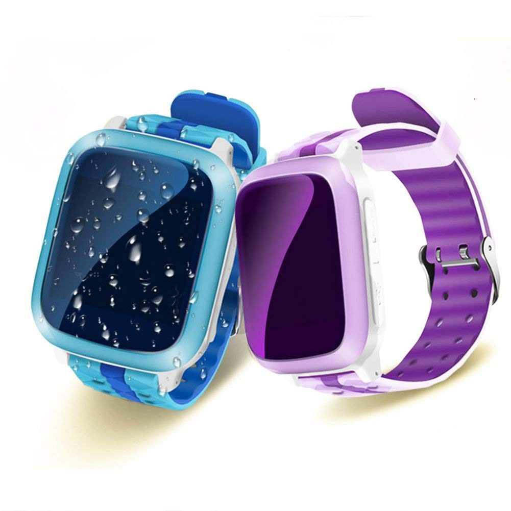 Kids Smart Watch with GPS, Waterproof Tracker Watch Touch Screen Childrens Smart Watch Phone Sim Anti-lost SOS Monitor Wrist Watch for IPhone IOS Android Smartphone(394713.9mm,Purple)