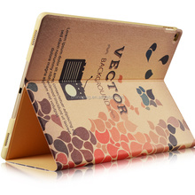 2017 Retro Vintage Notebook Designs Smart pu leather color printing pattern tablet case for Ipad pro for ipad case with stand