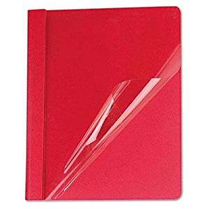 """Universal - Clear Front Report Cover Tang Fasteners Letter Size Red 25/Box """"Product Category: Binders & Binding Systems/Report Covers & Pocket Portfolios"""""""