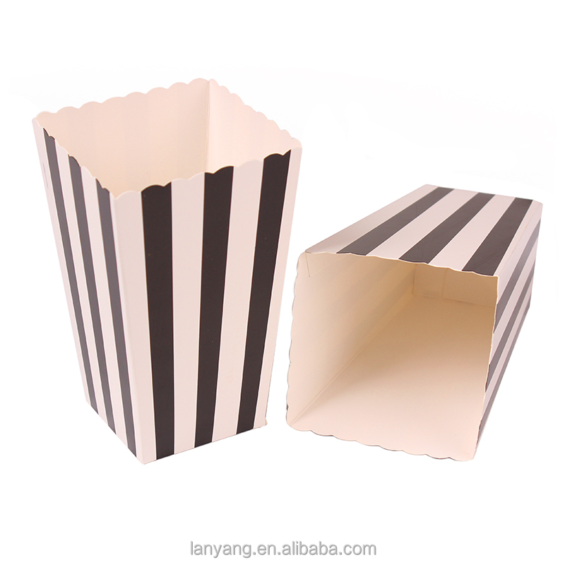 Party Popcorn Boxes/Bags Blue Striped Coloured Popcorn Parties Hollywood Treats