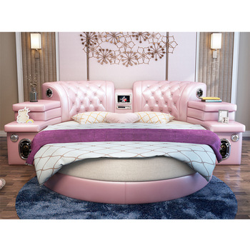 Girls Bedroom Furniture Pink Big Round Leather Bed,Cheap Round Beds ...