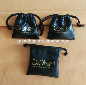 customize good quality headset pu pouch pull string bag