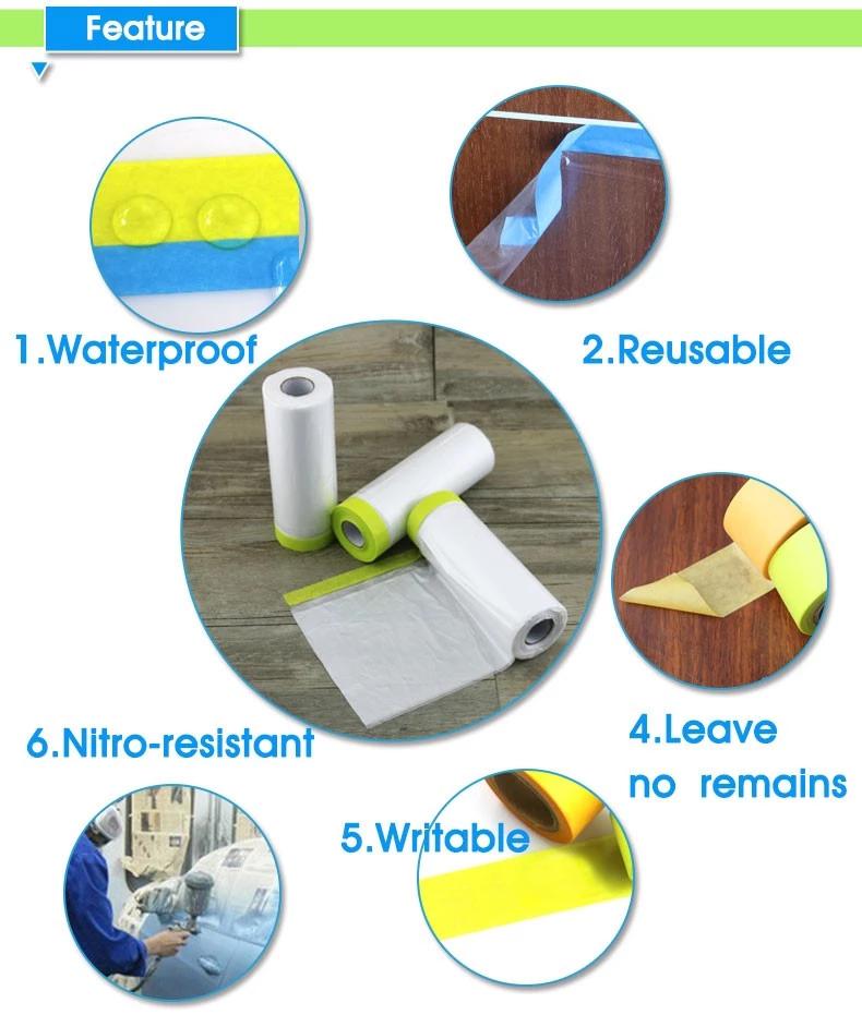 Blue washi tape plastic painter pre masking film tape