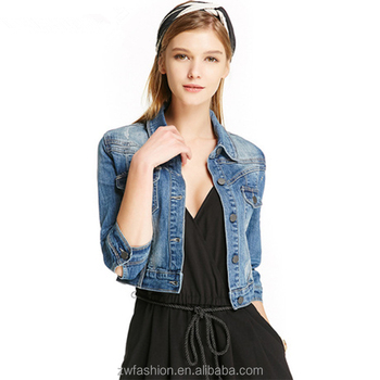 1c34138cf48b5 ladies mid sleeve short style body fitted jeans tops plain denim jacket