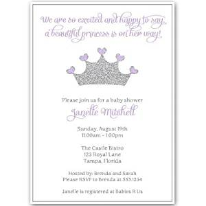 Princess, Baby Shower Invitations, Girl, Purple, Silver, Crown, Sparkle, Bling, Glitter, Sprinkle, White, Tiara, Set of 10 Custom Printed Invites with White Envelopes Pretty Princess