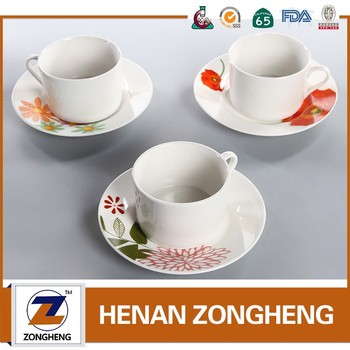 Hot sale 2016 White Porcelain coffee tea cups and saucers sets
