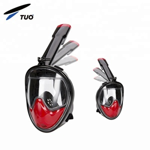 2018 TUO 180 Panoramic Underwater Scuba Easybreath Full Face Swimming Folding Silicone Diving Snorkel Mask With Gopro Mount