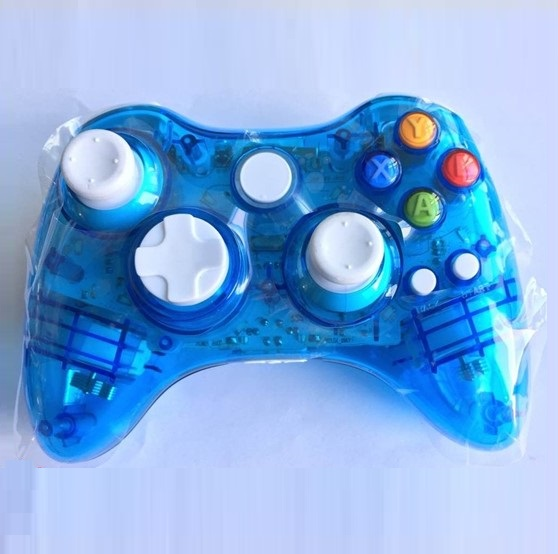 Transparent colorful wireless gamepad for Xbox 360 with LED