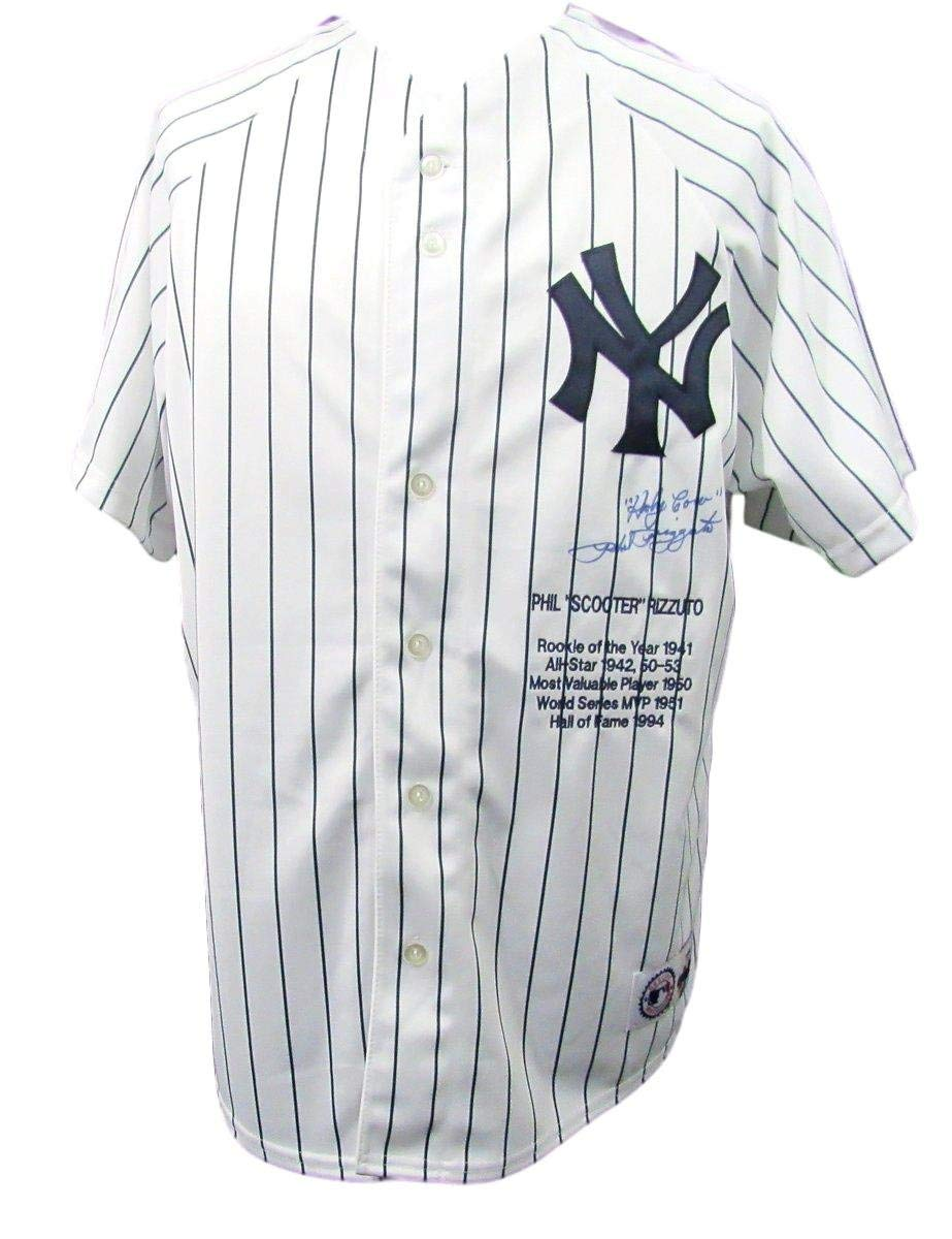"Phil""Scooter"" Rizzuto Yankees Autographed Jersey Inscribed PSA/DNA 136420"
