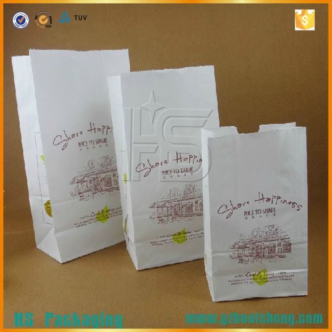 White Kraft Paper Bag/Snack Packing Bag/Custom Logo Design Paper Cookie Packaging Bag
