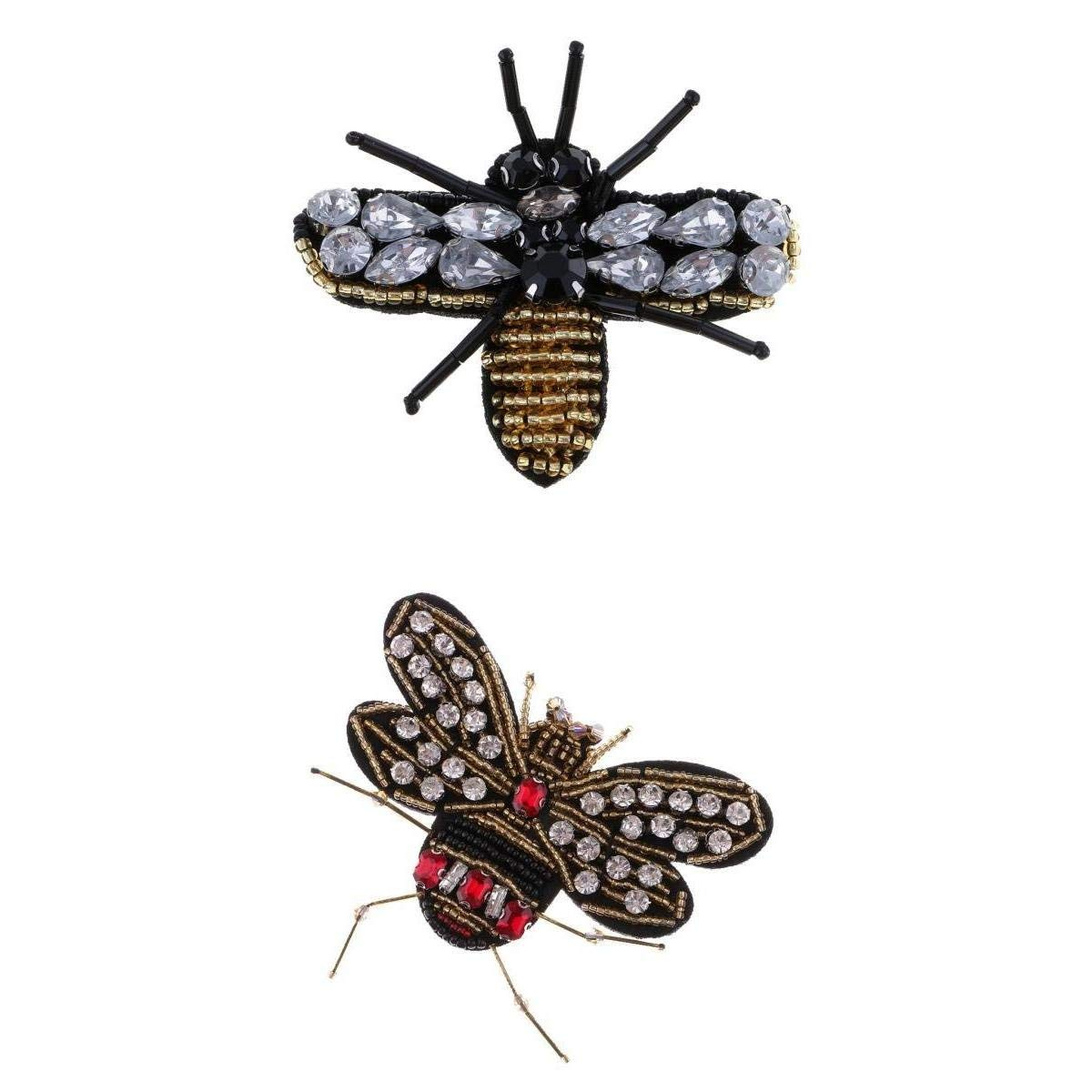 Jili Online 2 Pieces Fashion Bee Dragonfly Beads Rhinestone Patch Applique Badge for DIY Clothes Bag Decoration
