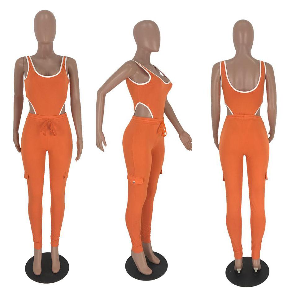 HAOYUAN, неоновый, зеленый, оранжевый, сексуальный комплект из 2 предметов, Женская праздничная одежда, пляжный комбинезон, боди, топ + штаны, Клу...(Китай)