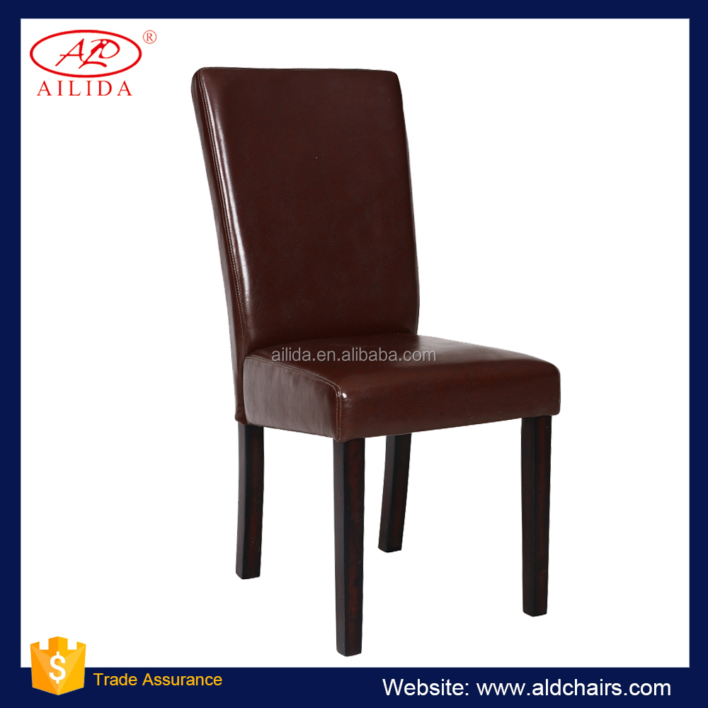 PC-116 Brown And Black Leather Modern Dining Chair For Home And Hotel Use