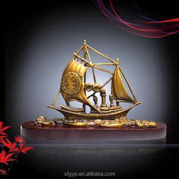 Customize brass/bronze boat model trophy with wooden base