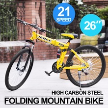 "Outdoor Mountain Bike 26"" 21-Speed Folding Bicycle Road Travel Racing for Men and Women Yellow"