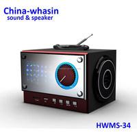 calendar speaker with alarm clock and FM,Fashion USB/SD Card Portable Wooden LED USB Mini Speaker