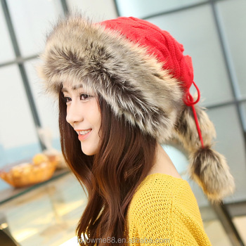 2022cb6da7d Shiny Russia and Mongolian Hat Knitted Hats faux rabbit fur Warm Hat Winter  Beanies