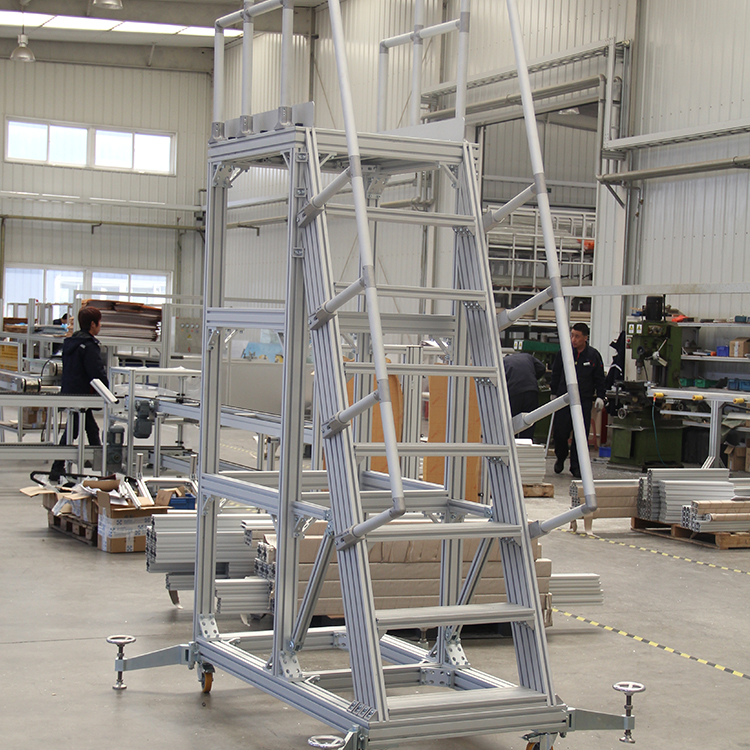 8 step ladder with safety handrail and work platform