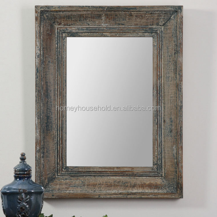 Distressed Wood Mirror Frame Antique