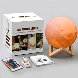 8-24cm 3D Print LED Magical Full Moon Night Light Touch Sensor Desk Moon Lamp USB Christmas Gift Color Changing Lunar Light