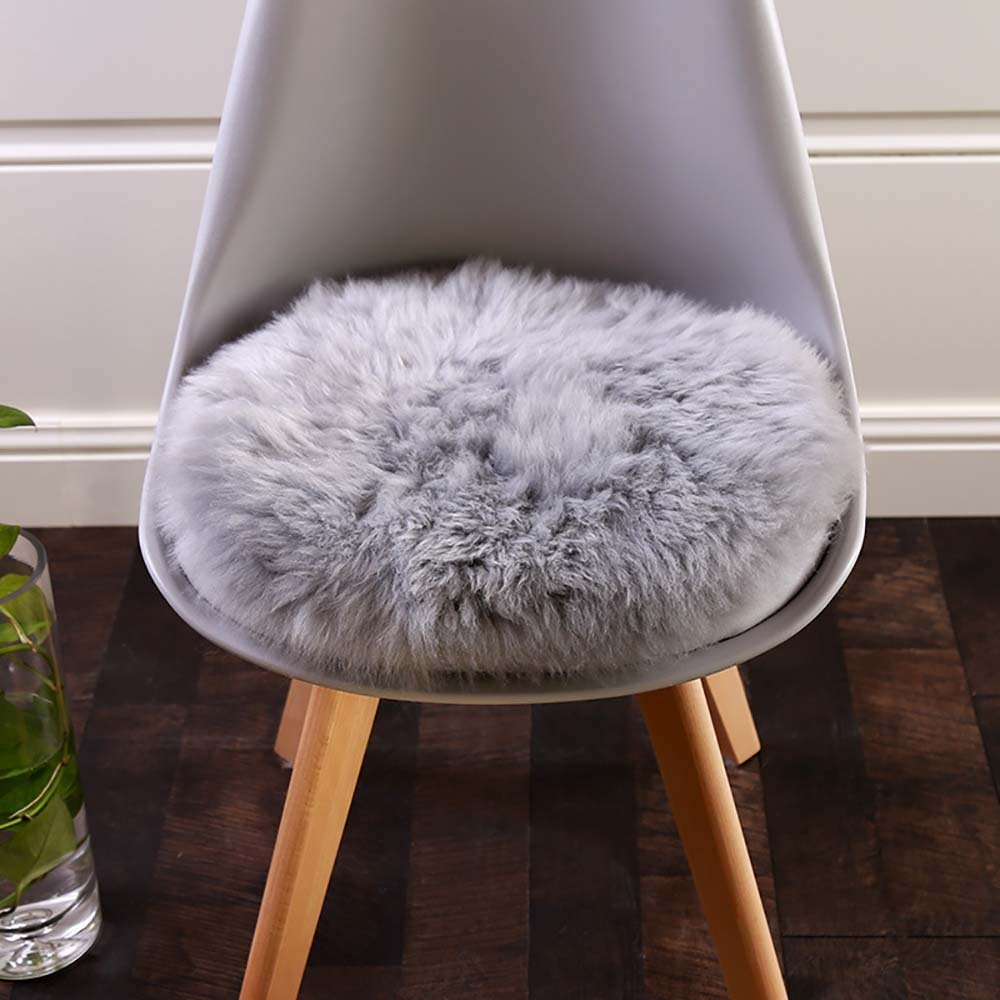 Get Quotations · Round Faux Fur Sheepskin Rugs Soft Plush Seat Cover  Cushion Cover For Chair Living U0026 Bedroom