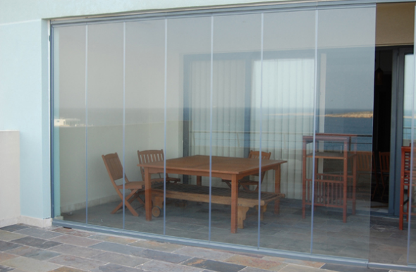 vidrio sin marco puertas correderas plegables de aluminio