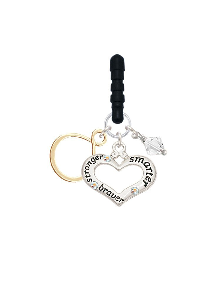 Gold Tone Infinity Loop Stronger Braver Smarter Cell Phone Charm