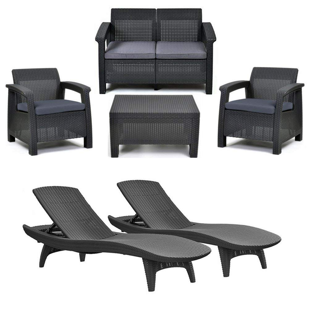 4-Piece Corfu Seating Set With Cushions & 2-Piece Adjustable Patio Chaise Lounge, Charcoal Grey, Open-Weave Rattan-Style, Keter Garden & Patio Furniture, Stylish & Cozy Outdoor Designs