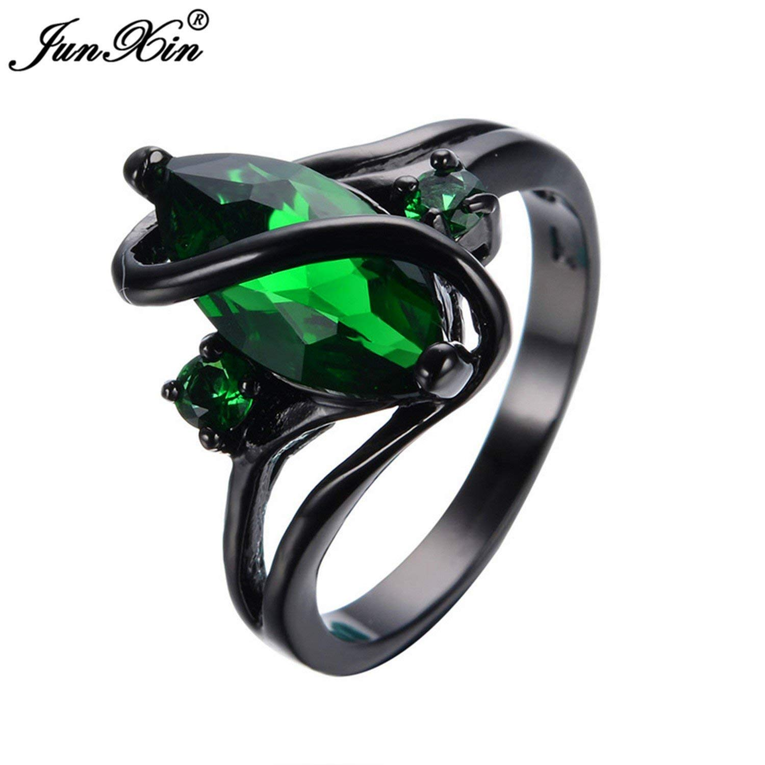 Dudee Jewelry Elegant Black Gold Filled Emerald CZ Ring Vintage Wedding Ring Eve Fashion Jewelry RB0048