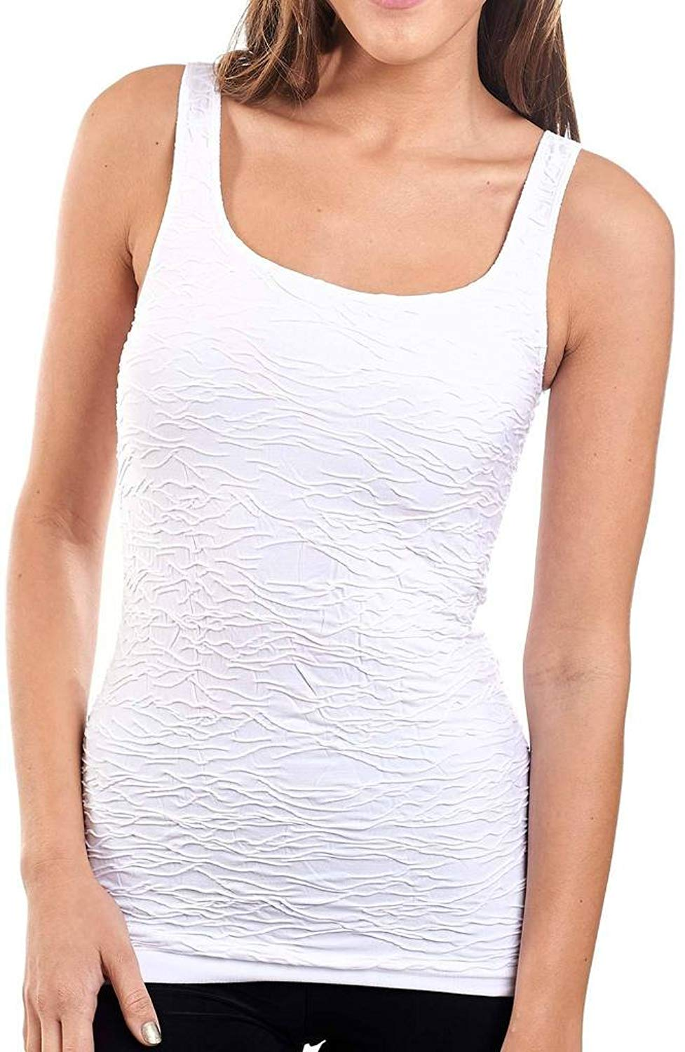 5dff6f99fadc4 Get Quotations · Joseph Ribkoff White Textured Ruched Tank Top Cami Style  161990