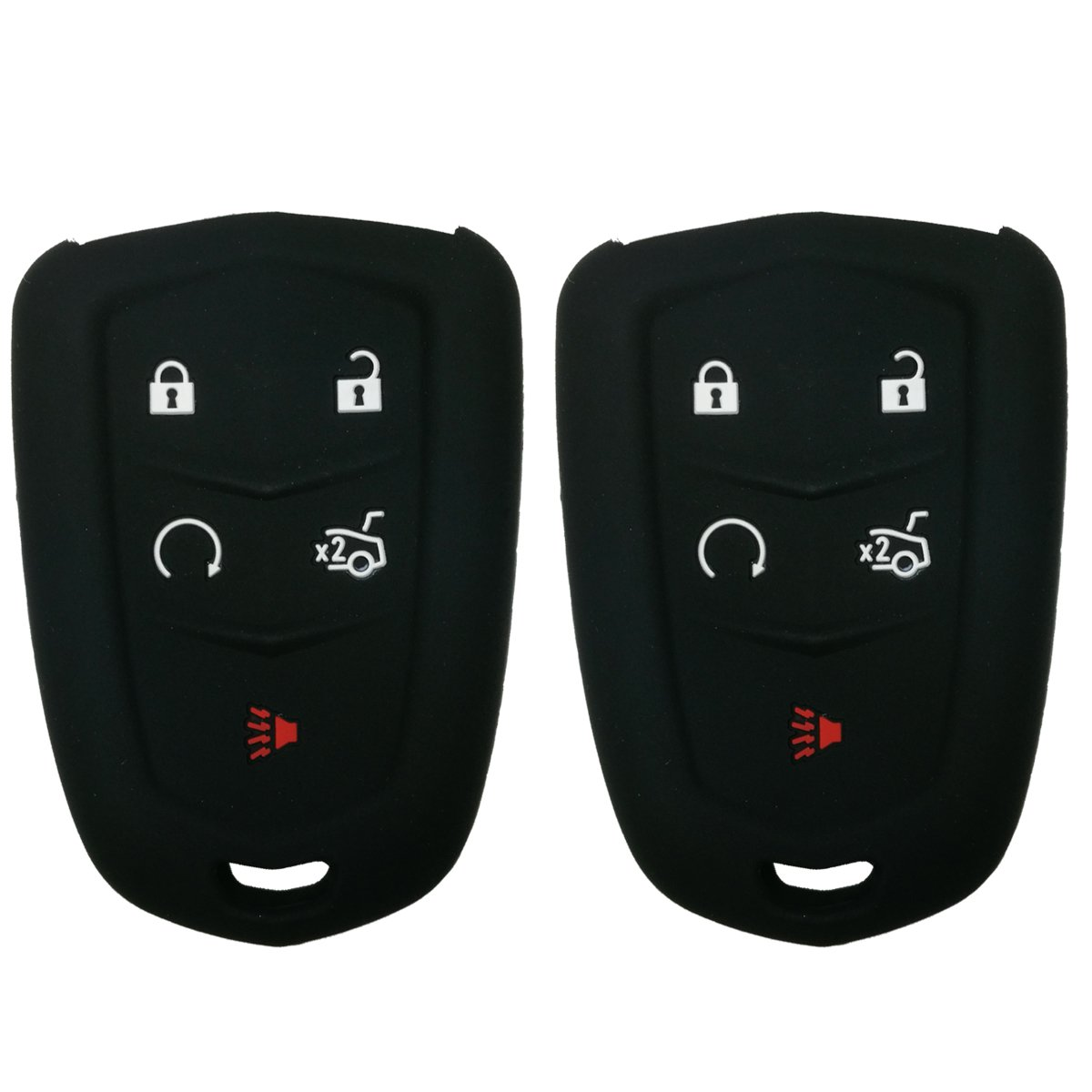 2Pcs Coolbestda Rubber 5 Buttons Smart Key Fob Remote Cover Case Protector Keyless Jacket for 2018 2017 2016 Cadillac CT6 XT5 CTS XTS SRX ATS HYQ2AB HYQ2EB Black