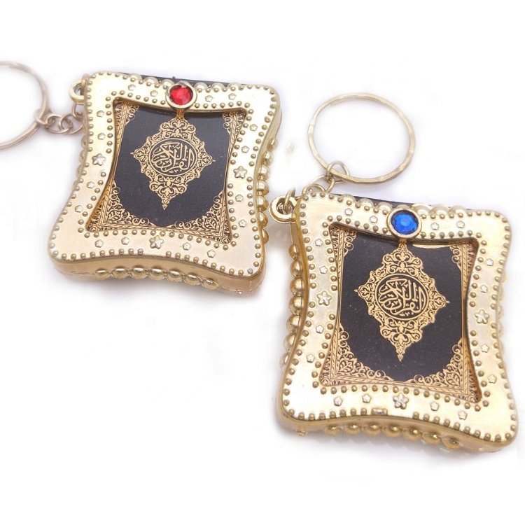Wholesale Muslim Bible Keychain Resin Islamic Mini Ark Quran Book Koran Key Ring for Gifts