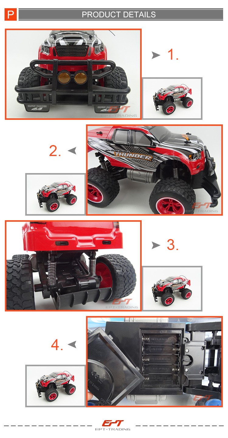 1/12 remote control car big wheel pick up truck toy with charger