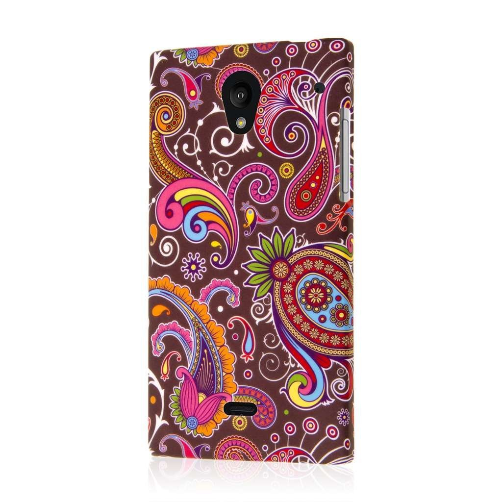 Sharp Aquos Crystal Case, MPERO SNAPZ Series Rubberized Case for Sharp Aquos Crystal 306SH - Black Paisley