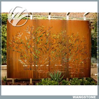 large corten steel garden laser cut metal screens view