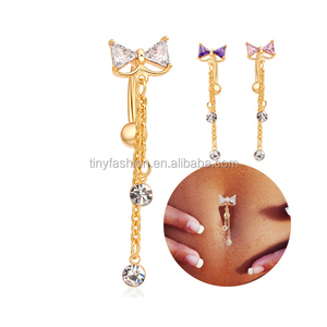 Wholesale Hot Copper Body Jewelry Crystal Women Body Accessories Knot Piercing Free Belly Button Rings